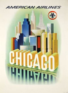 American Airlines, Chicago - Vintage Posters - Galerie 123 - The place to find vintage art
