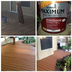 Our Weather Beaten Deck Floors Are Beautiful Once Again With Olympic Solid  Color Stain/Sealant