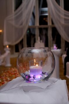 Beautiful glowing glass centerpiece