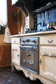 ...looks like a dresser and hutch used for cabinets in a kitchen!