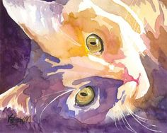 thecatart:  Long Haired Cat Art Print of Original Watercolor Painting 8x10 cat pictures art