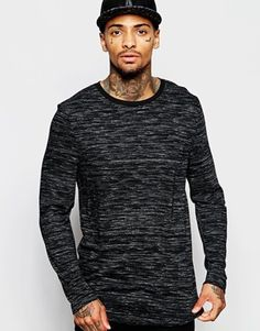 ASOS Super Longline Long Sleeve T-Shirt With Space Dye Jersey