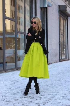 Chartruese Pleated High Waisted Midi Skirt