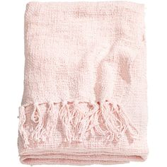 H&M Woven blanket (€41) ❤ liked on Polyvore featuring home, bed & bath, bedding, blankets, fillers, accessories, furniture, light pink, woven cotton blanket and fringe blanket
