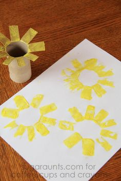 This sunflower craft is perfect for summer! Kids will love to stamp this sunflower and create their own! This sunflower craft is perfect for summer! Kids will love to stamp this sunflower and create their own! Spring Crafts For Kids, Fall Crafts, Art For Kids, Summer Kids, Van Gogh For Kids, Sunflower Crafts, Sunflower Art, Spring Activities, Art Activities