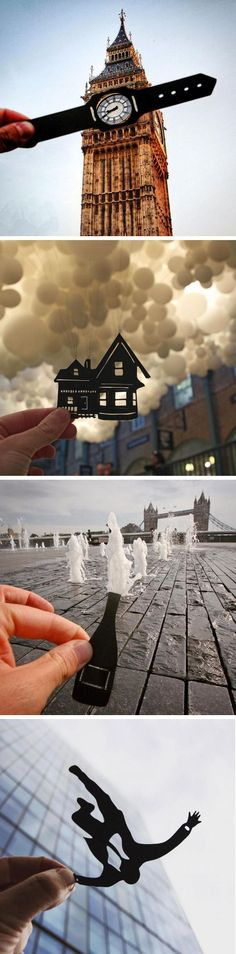 Rich McCor has developed a unique style of photography that uses paper cutouts to interact with European landmarks. Photography Series, Creative Photography, Amazing Photography, Travel Photography, Photography Ideas, Fashion Photography, Couple Photography, Friend Photography, Maternity Photography