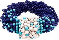 Van Cleef & Arpels' new High Jewellery cruise collection pays tribute to the Seven Seas. MEDITERRANEAN SEA: Rouleau Azur bracelet with lapis lazuli, turquoise, pearls and diamonds Sea Jewelry, High Jewelry, Jewelry Gifts, Jewelery, Jewellery Sale, Coral Jewelry, Jewelry Necklaces, Cruise Collection, Jewelry Collection