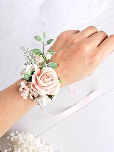 Proms rose PLUMES /& PERLES demoiselles d/'honneur Poignet corsage