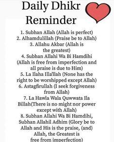 Daily Dhikr (Remembrance of Allah). Islam Hadith, Allah Islam, Duaa Islam, Islam Quran, Muslim Love Quotes, Beautiful Islamic Quotes, Religious Quotes, Beautiful Dua, Learn Quran