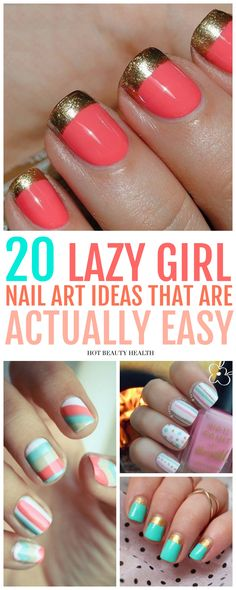 Here's a curated list of 20 simple nail art designs for beginners. These cute diy nail ideas are so easy that any nail newbie can do them! Click pin for step by step tutorials!
