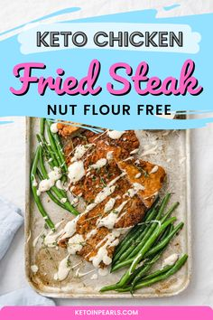If you're craving a taste of home, a little Southern comfort food, then this keto chicken fried steak is exactly what the chef recommends. Beef cube steak is coated in a nut free breading, fried till crispy, and served with a bit of homemade keto country gravy (linked below) for a keto country fried steak feast. #ketorecipes #ketodinners #nutfreerecipes Beef Cubed Steak, Chicken Fried Steak, Cube Steak, Keto Chicken, White Country Gravy Recipe, Sugar Free Peanut Butter Cookies, Unflavored Whey Protein, Low Carb Recipes, Healthy Recipes