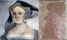 Elizabeth Cheney Vaux, Lady Vaux, 1st cousin of Queen Katherine Parr by blood, and by marriage--Holbein.  Image on right could well be that of the older Elizabeth.
