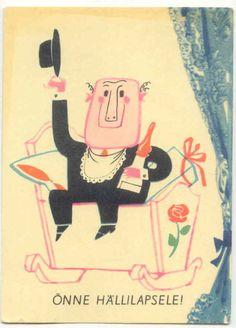 Birthday postcard by Edgar Valter from around 1967