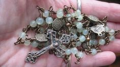 In the Garden- Full Size Wire Wrapped Traditional Catholic Rosary Heirloom Quality in Serpentine(New Jade) and Copper by MoonandStarsStudio for $65.00