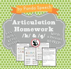 Articulation Homework for k/gI made this quick and easy to use homework sheet to send home with  students for continued practice. Included in this download: Parent Letter Initial k/g homework (words and phrases) Medial k/g homework (words and phrases) Final k/g homework (words and phrases)Each page has 10 word targets and 6 phrase level targets!