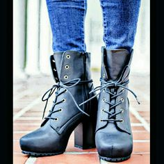 "♠DISTRESSED BLACK STYLE MEETS COUNTRY HIKER BOOTS♠ ♠Black distressed color ♠Lace up high heel hiker boots  ♠Boot hits at the ankle  ♠Heel Height 3.5"" ♠Platform height 1.5"" ♠Width - M  ♠Zipper up the side ♠Rubber sole and comfy footbed❤✌ BOTIQUE  Shoes Ankle Boots & Booties"