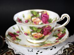 Royal Chelsea, Tea Cup and Saucer Set, Bone China, Vintage Teacups 13221