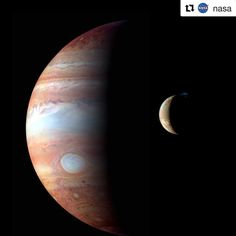 #Repost @nasa with @repostapp  Our Juno spacecraft arrives at Jupiter on July 4 and here a montage from 2007 from our New Horizons spacecraft's flyby of Jupiter and its volcanic moon Io. The prominent bluish-white oval is the Great Red Spot. The Io image shows a major eruption in progress on Io's night side at the northern volcano Tvashtar. Incandescent lava glows red beneath a 330-kilometer high volcanic plume whose uppermost portions are illuminated by sunlight.  Fourth of July our…