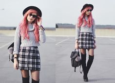 Missguided Roll Neck Crop Top, Missguided Tartan Skirt, Asos Thigh High Boots, Urban Outfitters Leather Rucksack, Urban Outfitters Fedora