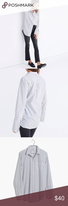 Madewell Bristol Button-Down shirt in stripe *only worn once!  PRODUCT DETAILS Easy and oversized, this striped button-down has a definite stolen-from-him vibe. The extra-long shirt cuffs can be folded up for a polished look or left down for an effortless feel.  Slightly oversized fit. Cotton. Machine wash. Madewell Tops Button Down Shirts
