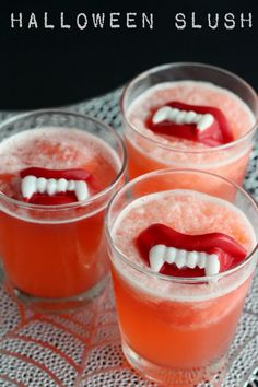 Halloween Slushy Punch Recipe with Wax Lips