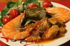 Assiette-Repas : avec Mâche Crevettes Champignons à la grecque - Fini de grossir !