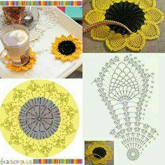 Crochet Placemat Patterns, Crochet Mandala Pattern, Crochet Square Patterns, Doily Patterns, Crochet Chart, Crochet Patterns Amigurumi, Thread Crochet, Crochet Sunflower, Crochet Daisy