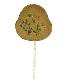 carve cattle bone hand  fire screen fan needle point original antique 1700-1800  #handmade