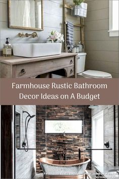 ✓ 10 Farmhouse Rustic Bathroom Decor Ideas on A Budget - At the moment we're going to sharing some superior rusticbathroom design inspirations with you. Rustic Bathroom Decor, Modern Bathroom, Small Bathroom, Master Bathroom, Bathroom Ideas, Rustic Farmhouse, Farmhouse Style, Farmhouse Ideas, Budgeting