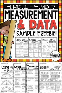 FREE 4th Grade Math: Measurement & Data worksheets: Including word problems, measuring angles, using protractors, line plots, and area and perimeter. Perfect for end of year math test prep review!