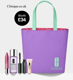 Summer Exclusive Offer from the Clinique UK - spend £55 and receive this 5-piece Clinique gift. Clinique Gift, Uk Summer, Debenhams, Harrods, Cosmetic Bag, Dillards, Free Gifts, Cosmetics, Nails