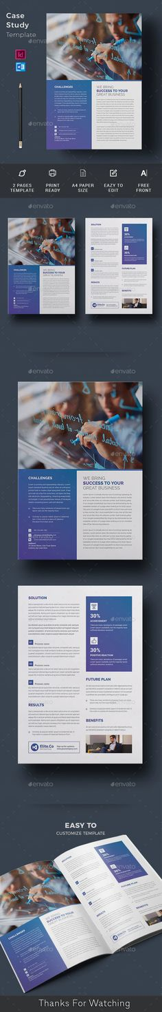 Buy Case Study Template by telaarte on GraphicRiver. Case Study Brochure Case Study Brochure Template suitable for presenting your case studies in a professional way. Case Study Template, Page Template, Brochure Template, A4 Paper, Paper Size, Printed Portfolio, Change Image, Newsletter Templates, Print Templates