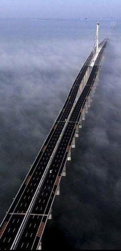 The world's longest sea bridge is the Jiaozhou Bay Bridge in China: 26.4 miles long.