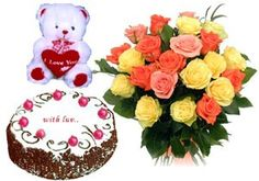 Bunch of 15 Roses with seasonal fillers wrapped in cellophane with a ribbon bows and 1 kg fresh...