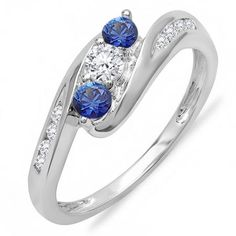 Share and get $20 off your order of $100 or more. 0.50 Carat (ctw) 18k White Gold Round White Diamond And Blue Sapphire Ladies Swirl Engagement 3 Stone Bridal Ring 1/2 CT - Dazzling Rock #https://www.pinterest.com/dazzlingrock/