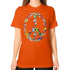 GLOBAL PEACE SIGN ON AMERICAN APPAREL Unisex T-Shirt (on woman)