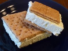 Low Calorie Ice Cream Sandwhich  SAY WHAT?  Ingredients  Lite Cool Whip  Graham crackers  Freeze the Cool Whip container.  Break a graham cracker sheet in half.  Place a spoonful of frozen Cool Whip on one half.  Top with the other half of the cracker sheet.  For some fun variety, try strawberry Cool Whip or cinnamon sugar graham crackers.  From FITNESSRX