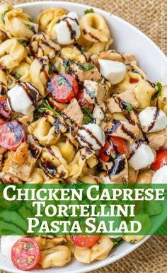 Aug 2018 - Chicken Caprese Tortellini Pasta Salad is the perfect and quick pasta salad for your summer cookout with chicken, fresh mozzarella, tortellini and quick balsamic dressing. Pesto Tortellini, Caprese Chicken Pasta, Caprese Pasta Salad, Chicken Tortellini, Tortellini Recipes, Pasta Salad Recipes, Recipe Pasta, Grilled Chicken, Mozzarella Salat