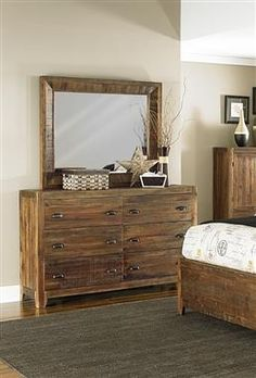 Superieur River Road Transitional Distressed Natural Wood Glass Dresser Six Drawer  Dresser, Dresser With Mirror,