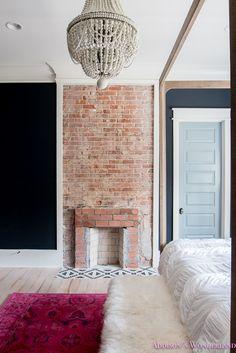 Our dark & moody master bedroom update. master-bedroom-black-walls-white-wood-bead-chandelier-whitewashed-hardwood-flooring-four-poster-bed-restpration-hardware-inkwell-rug Black Master Bedroom, Bedding Master Bedroom, Bedroom Decor, White Wash Brick, White Trim, White Wood, Dark Wood, Exposed Brick Fireplaces, Black Walls