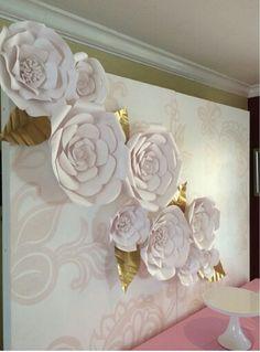 Pretty Big Paper Flowers, Crepe Paper Flowers Tutorial, Giant Flowers, Paper Flower Wall, Paper Roses, Faux Flowers, Flower Mural, Flower Wall Backdrop, Diy Backdrop