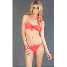 Coral Side Flower Halter Bikini