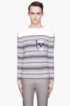 ALEXANDER MCQUEEN Ivory and indigo Breton Skull T-Shirt