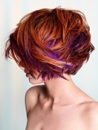 Deep Copper Short Bob With Purple Highlights