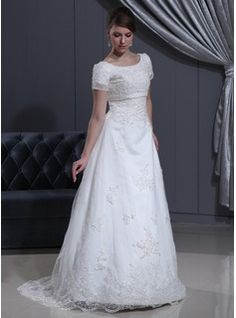 A-Line/Princess Scoop Neck Sweep Train Satin Tulle Wedding Dress With Lace Beadwork (002000311)