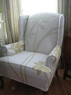 Red Door Abode: Queen Anne Reupholslipstery  No Sew Slipcover For A Chair.