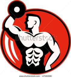 vector illustration of human figure body builder lifting a dumbbell set inside a circle. #bodybuilder #retro #illustration