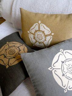hand printed gold & gray Yorkshire rose cushions / Helen Mcallister:  Helkatdesign