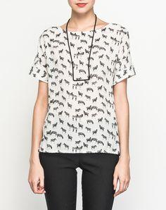 #AdoreWe #VIPme Blouses & Shirts - SAINTY White Zebra Printed Silk Blouse - AdoreWe.com