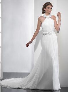 A-ligne licol de mariage robe en mousseline de soie